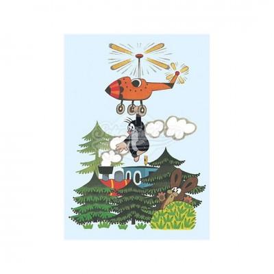 """Postkarte """"Hängt am Hubschrauber"""" - kleiner Maulwurf"""