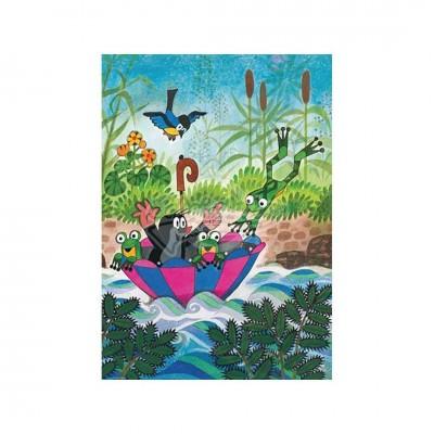 """Postkarte """"Maulwurf im Regenschirmboot"""" - Der kleine Maulwurf"""