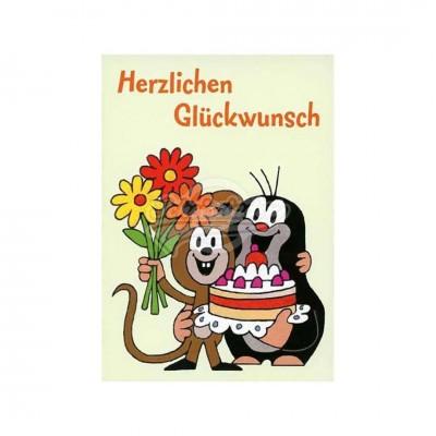 """Postkarte """"Herzlichen Glückwunsch"""" - kleiner Maulwurf"""