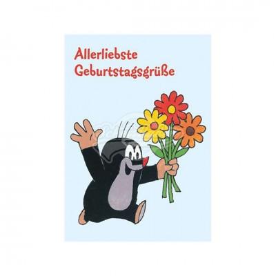 """Postkarte """"Allerliebste Geburtstagsgrüße"""" - kleiner Maulwurf"""