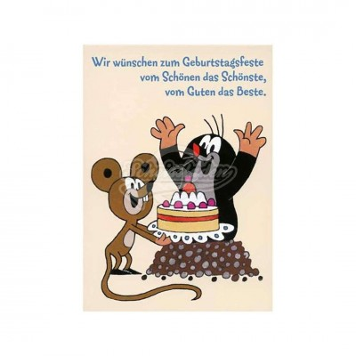 """Postkarte """"Wir wünschen zum Geburtstagsfeste.. """" - kleiner Maulwurf"""