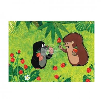 """Postkarte """"Igel und Maulwurf essen Erdbeeren"""" - kleiner Maulwurf"""