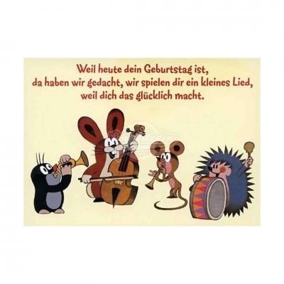 """Postkarte """"Geburtstagsständchen - kleiner Maulwurf"""