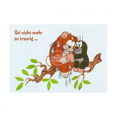 """Postkarte """"Sei nicht mehr so traurig"""" - kleiner Maulwurf"""