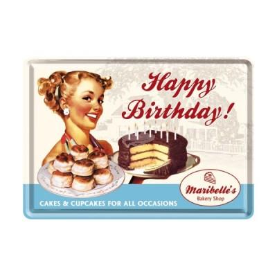 """Blechpostkarte """"Say it 50s Happy Birthday Cake"""" Nostalgic Art"""