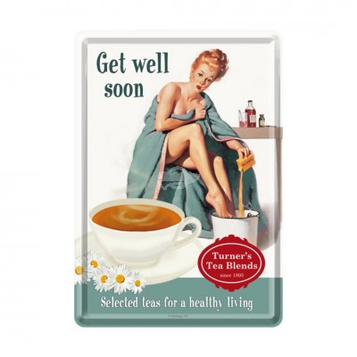 "Blechpostkarte ""Get well Soon"" Nostalgic Art"