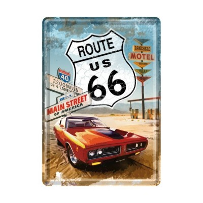 "Blechpostkarte ""Route 66 Red Car Gas Up"" Nostalgic Art"