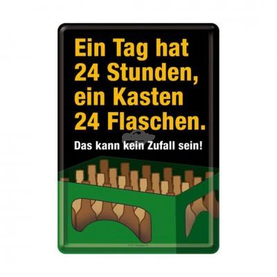 """Blechpostkarte """"Ein Tag hat 24 Stunden"""" Nostalgic Art"""