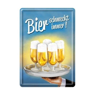 """Blechpostkarte """"Bier schmeckt immer"""" Nostalgic Art"""