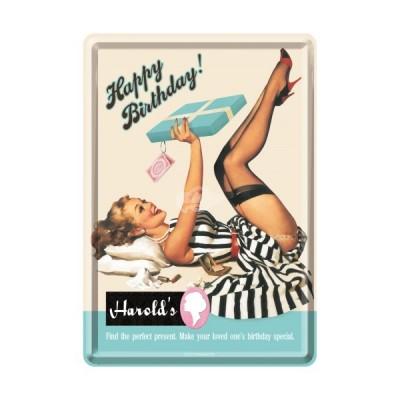 """Blechpostkarte """"Happy Birthday Harrolds - Say it 50s"""" Nostalgic Art"""