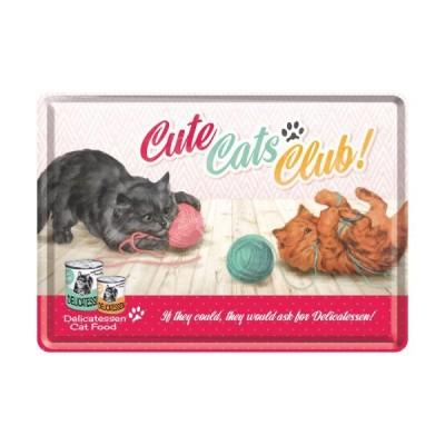 """Blechpostkarte """"Cute Cats Club"""" Nostalgic Art"""