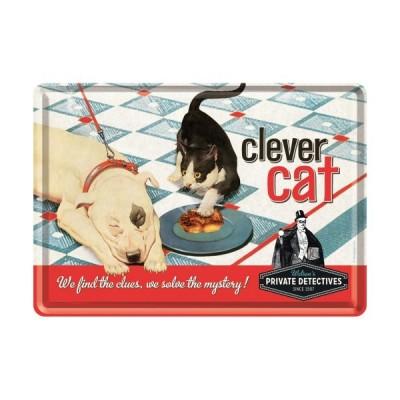 "Blechpostkarte ""Clever Cat"" Nostalgic Art"