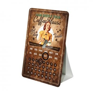 "Blechpostkarte Kalender ""Lady - Coffee House"" Nostalgic Art"