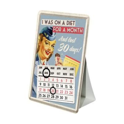 "Blechpostkarte Kalender ""On Diet for a Moth - Say it 50s"" Nostalgic Art"