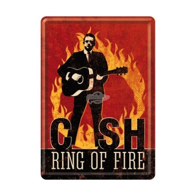 """Blechpostkarte """"Johnny Cash - ring on fire"""" - Nostalgic Art"""