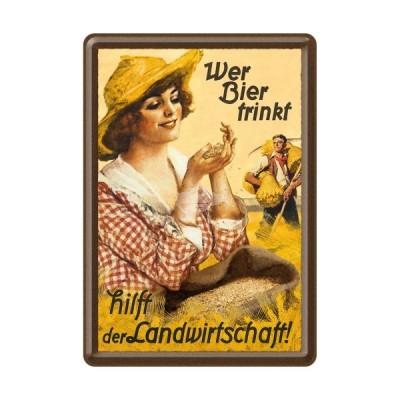 "Blechpostkarte ""Wer Bier..."" Nostalgic Art"