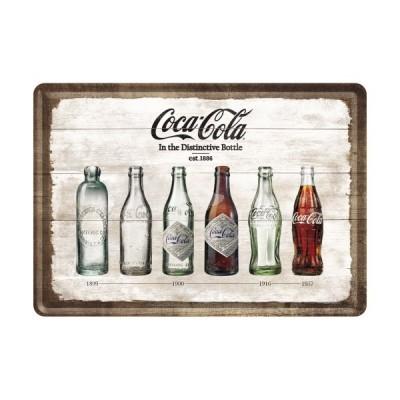 """Blechpostkarte """"Bottle Timeline – Cola Cola"""" Nostalgic Art"""