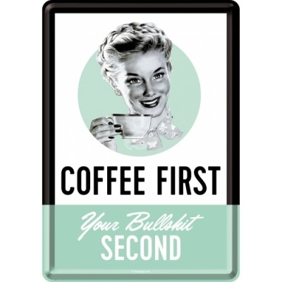 "Blechpostkarte ""Coffee First"" Nostalgic Art"
