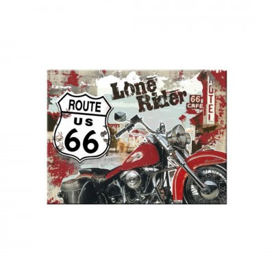 "Magnet ""Route 66 Lone Rider - US Highways"" Nostalgic Art"
