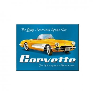 "Magnet ""Corvette Yellow - USA"" Nostalgic Art-Auslaufartikel"