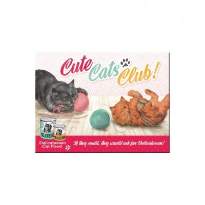 "Magnet ""Cute Cats Club - Say it 50s"" Nostalgic Art-Auslaufartikel"