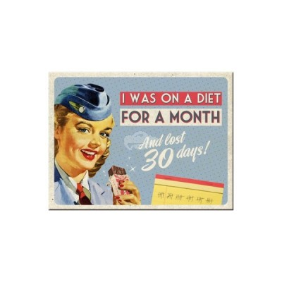"Magnet ""On A Diet For a Month - Say it 50s"" Nostalgic Art"