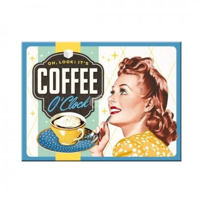 "Magnet ""Coffee O Clock"" Nostalgic Art"