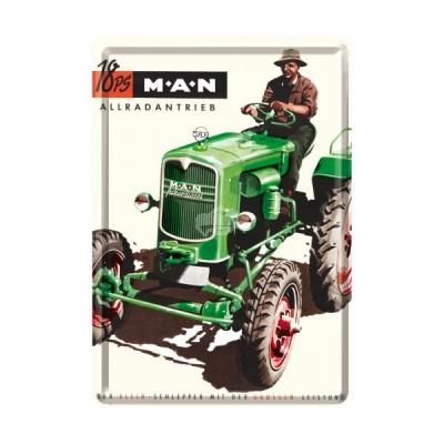 "Blechpostkarte ""MAN Traktor grün"" Nostalgic Art"