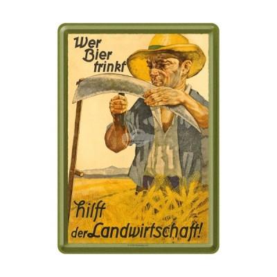 """Blechpostkarte """"Landwirtschaft"""" Nostalgic Art"""
