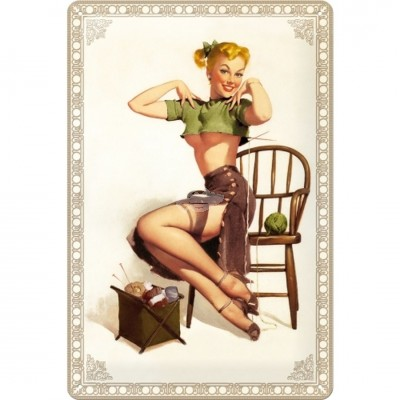 "Blechschild ""Knitting - Pin up"" Nostalgic Art"