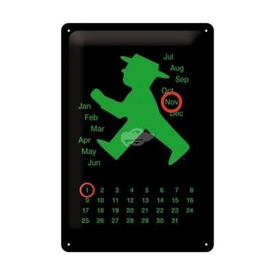 """Blechschild Kalender """"Ampelmännchen - grün"""" Nostalgic Art"""
