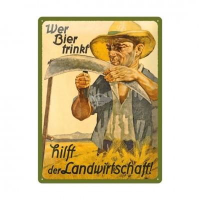 """Blechschild """"Wer Bier trinkt hilft"""" Nostalgic Art"""