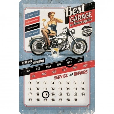 "Blechschild Kalender ""Best Garage - Blue"" Nostalgic Art"