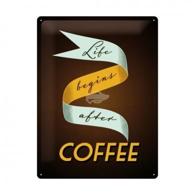 """Blechschild """"Life begins after Coffee"""" Nostalgic Art-Auslaufartikel"""