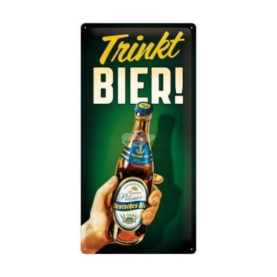 """Blechschild """"Trinkt Bier - Bier und Spirituosen"""" Nostalgic Art"""