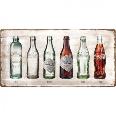 "Blechschild ""Coca-Cola - Bottle Timeline"" 50x25 cm Nostalgic Art"
