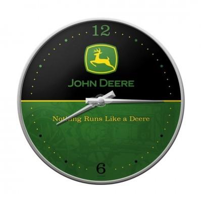 "Wanduhr ""Logo Black - John Deere"" Nostalgic Art"