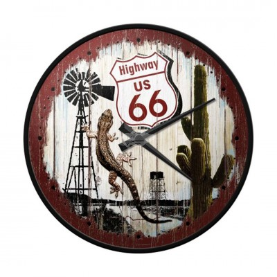 "Wanduhr ""Highway 66 - US Highways"" Nostalgic Art"