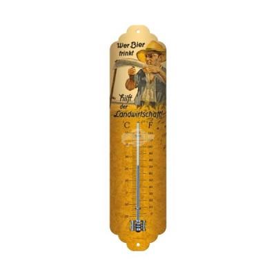 """Thermometer """"Wer Bier trink hilft - Bier & Spirituosen"""" Nostalgic Art"""