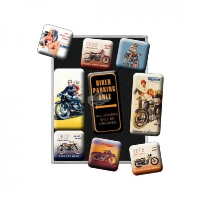 "Magnet-Set 9-tlg ""Biker Parking Only - Best Garage"" Nostalgic Art"