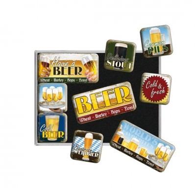 """Magnet-Set 9-tlg """"Worlds Favourite Beers - Bier und Spirituosen"""" Nostalgic Art-Auslaufartikel"""