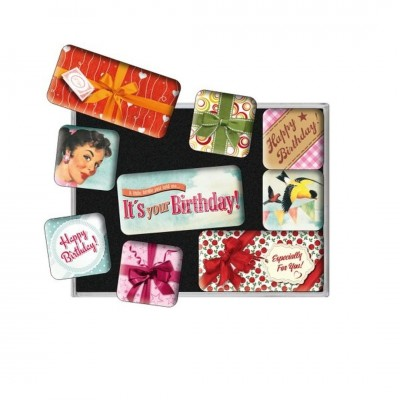 "Magnet-Set 9-tlg ""Happy Birthday - Say It 50s"" Nostalgic Art"