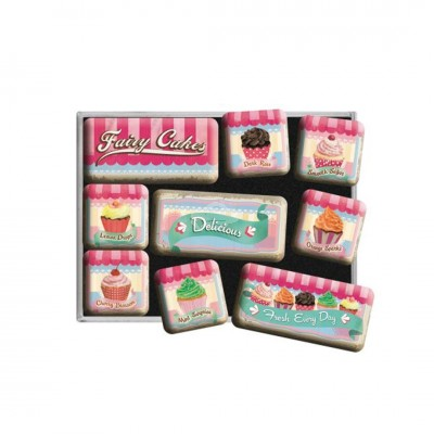 "Magnet-Set 9-tlg ""Fairy Cakes - Home & Country"" Nostalgic Art"