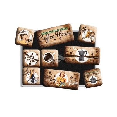 "Magnet-Set 9-tlg ""Coffee House - Coffee & Chocolate"" Nostalgic Art"