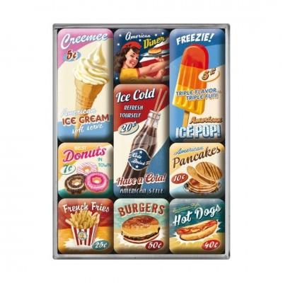 """Magnet-Set 9-tlg """"American Diner"""" Nostalgic Art"""