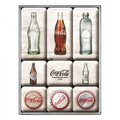 "Magnet-Set 9-tlg ""Coca-Cola - Bottle Timeline"" Nostalgic Art"