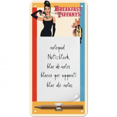 "Notitzblock-Schild ""Classic - Breakfast at Tiffanys"" Nostalgic Art"