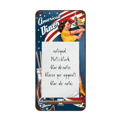"Notitzblock-Schild ""American Diner Waitress - USA"" Nostalgic Art"