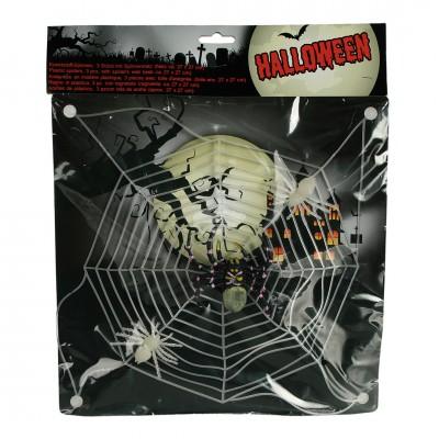 """Halloween """"Spinnenweben - Spinnennetz"""" mit 3 Spinnen"""