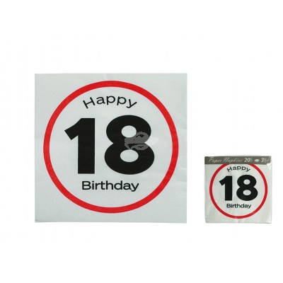 "Servietten ""Happy Birthday - 18"""
